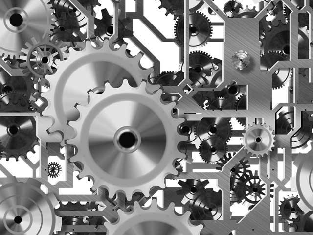 Machine shop safety image showing gears